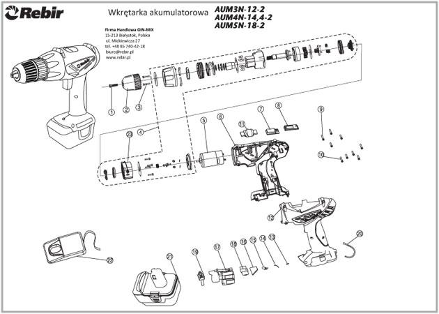Rysunek techniczny wkrętarki AUM