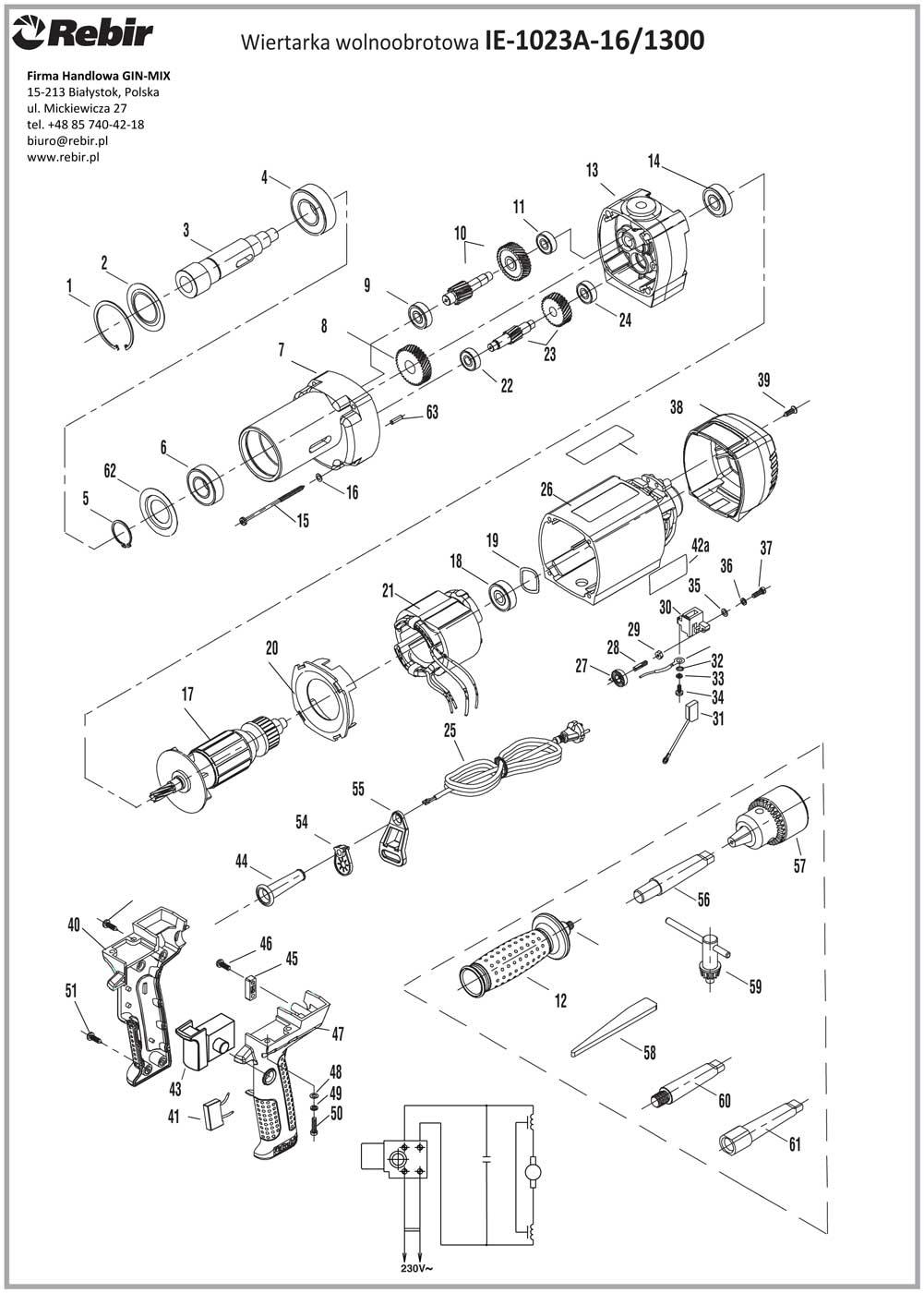 Rysunek techniczny wiertarki IE-1023A