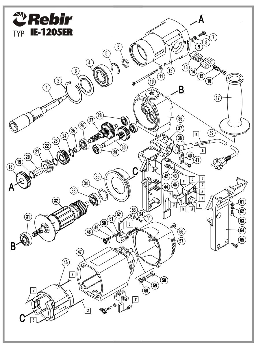 Schemat serwisowy wiertarki IE-1205