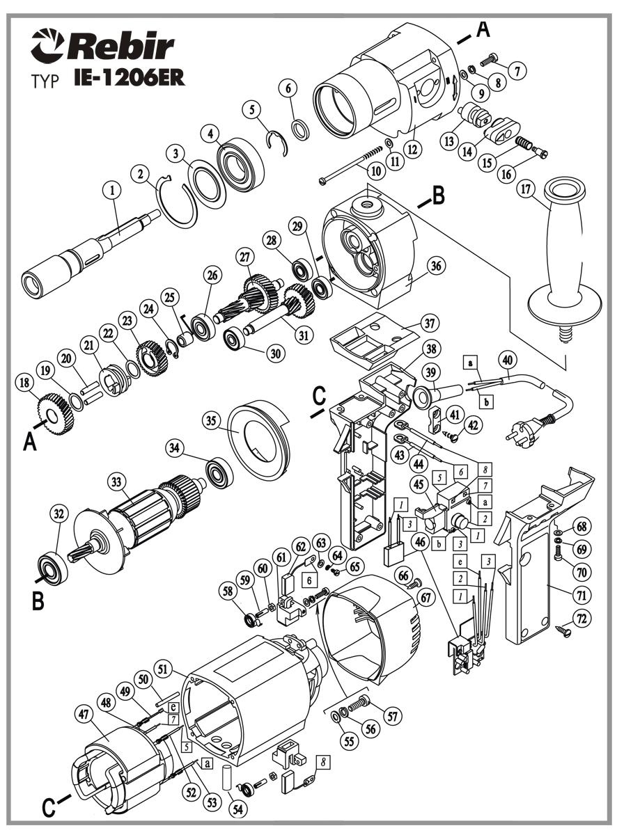 Rysunek techniczny wiertarki IE1206