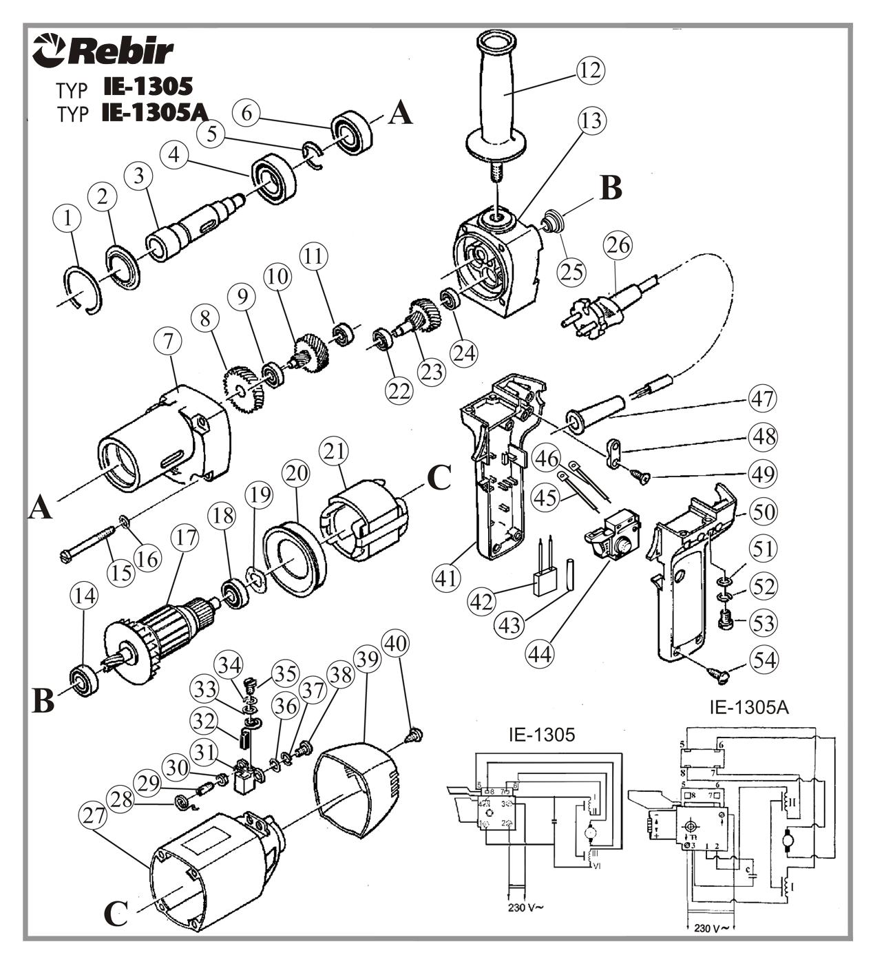 Rysunek techniczny wiertarki IE-1305