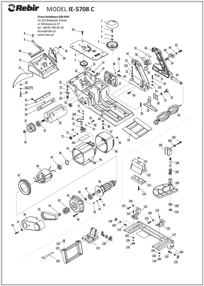 Rysunek techniczny struga elektrycznego IE-5708C