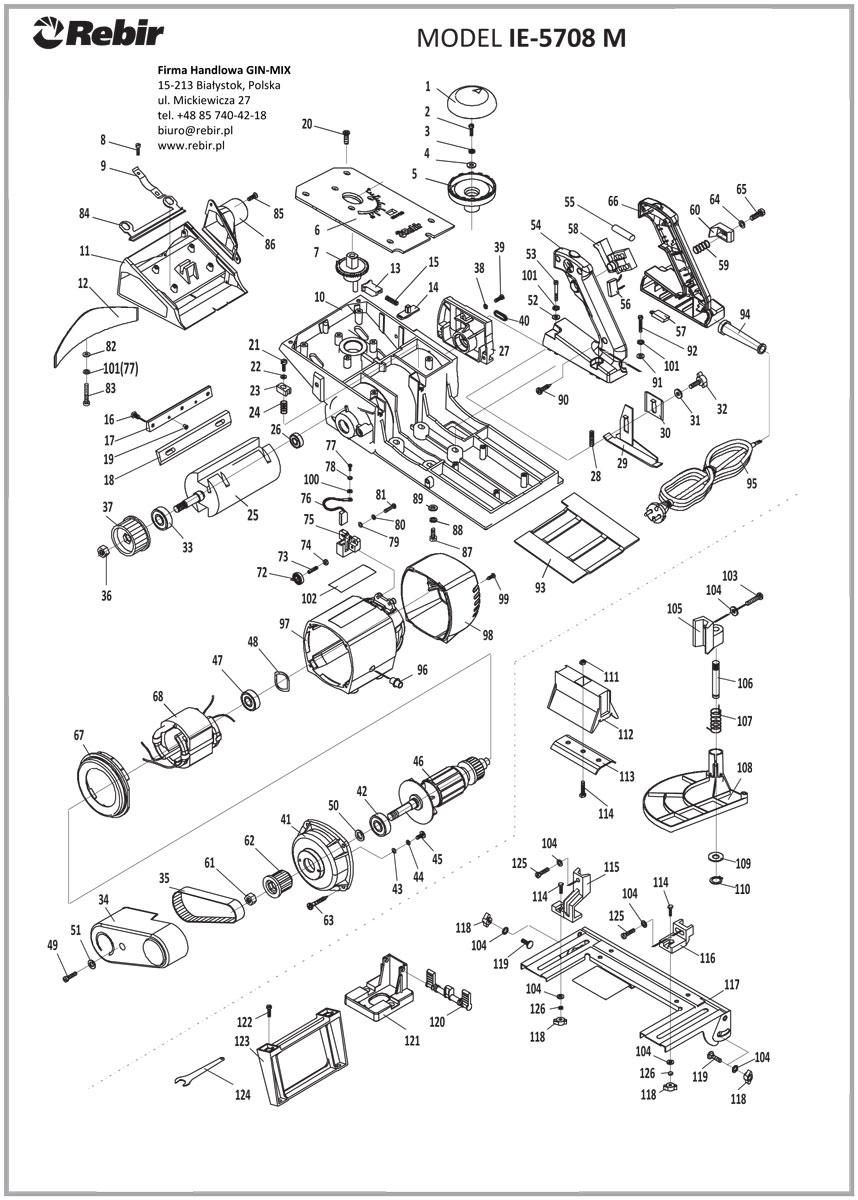 Rysunek techniczny struga elektrycznego IE-5708M