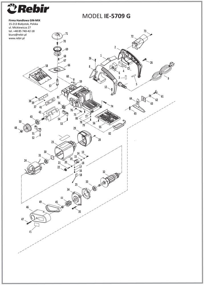 Rysunek techniczny struga elektrycznego IE-5709G