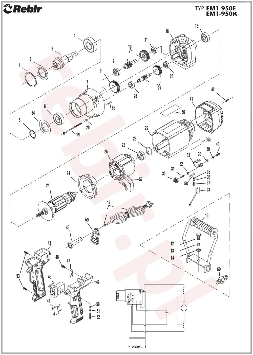 schemat serwisowy mieszarki Rebir